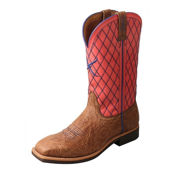 Twisted X Western Boot Womens Top Hand Block Heel Brown Coral
