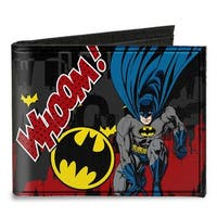 Batman Action Poses Whoom! Gray Black Red Canvas Bi Fold Wallet One Size - One Size Fits most