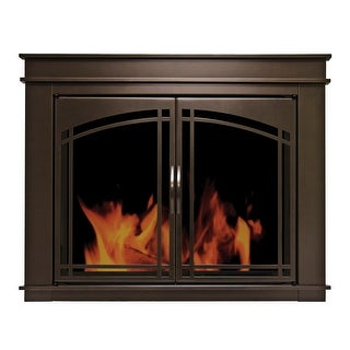 """Pleasant Hearth FN-5700  Fenwick 28"""" H x 38.75"""" L Small Cabinet Style Fireplace Screen with Arch Prairie Smoked Glass Doors"""