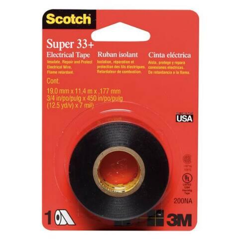 """Scotch 200 Super 33+ Electrical Tape, 3/4"""" x 450"""", Black"""