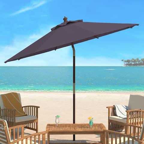 SAFAVIEH Cannes 9 Ft Grey Wooden Outdoor Umbrella