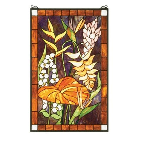 Meyda Tiffany 51539 Tiffany Rectangular Stained Glass Window Pane from the Tropical Floral Collection -