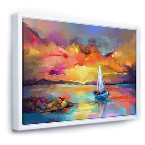 Designart 'Sunset With Colorful Reflections II' Modern & Contemporary Framed Canvas Wall Art Print
