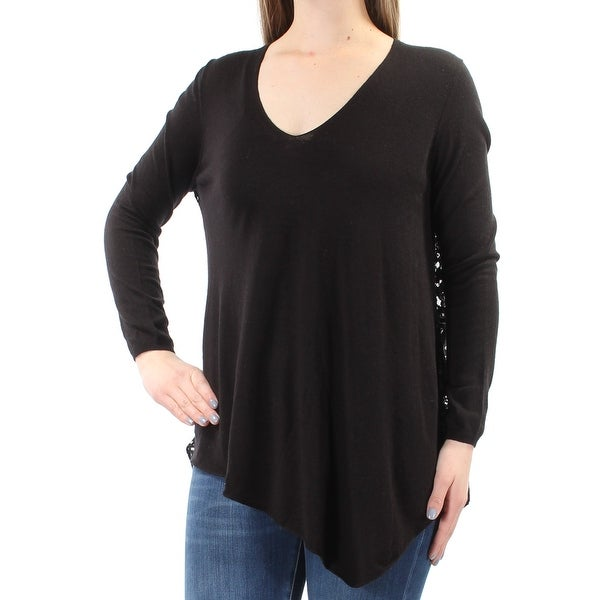 d03a1963776 Shop JOIE Womens Black Sheer Lace Back Long Sleeve V Neck Top Size: M -  Free Shipping Today - Overstock - 21389559
