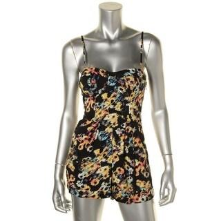 Material Girl Womens Juniors Floral Print Pleated Romper - XL