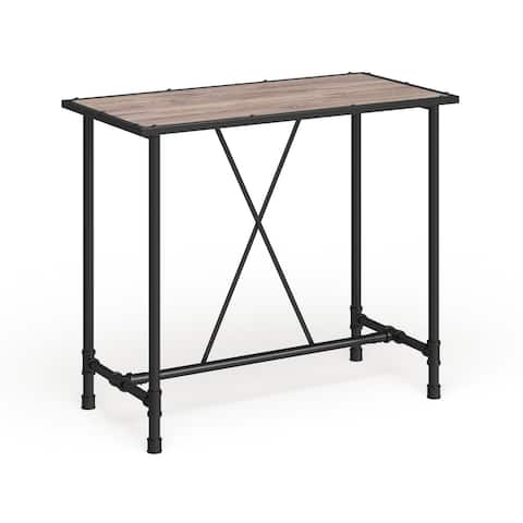 Carbon Loft Leona Rustic Oak and Metal Bar Table