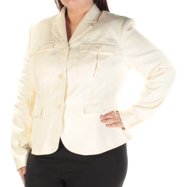 Womens Ivory Wear To Work Blazer Jacket Size 16