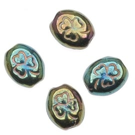 Czech Glass Oval Beads With St. Patrick's Day Green Iris Shamrock Gold Inlay 10mm (15)