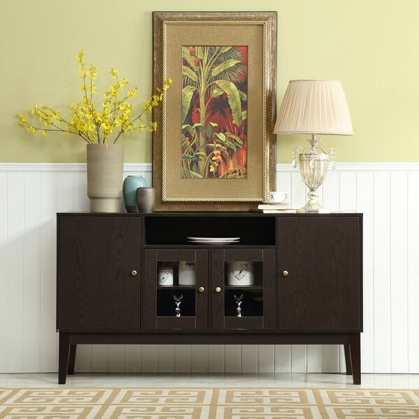 Rustic Wood Buffet Storage Sideboard Table with 4 Cabinets