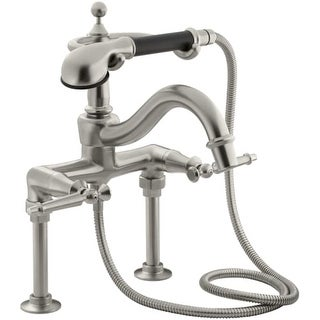 Kohler K-110-4 Double Handle Roman Tub Faucet with Metal Lever Handles and Handshower from the Antique Series