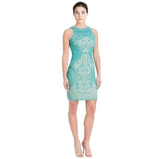 Theia Beaded Sleeveless Sheath Cocktail Evening Dress - 6