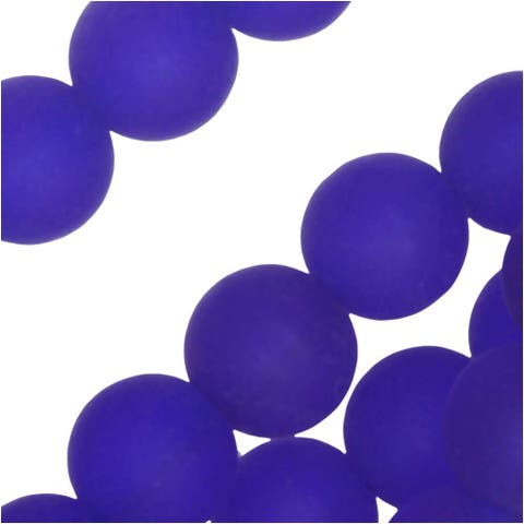 Cultured Sea Glass, Round Beads 8mm, 26 Pieces, Royal Blue