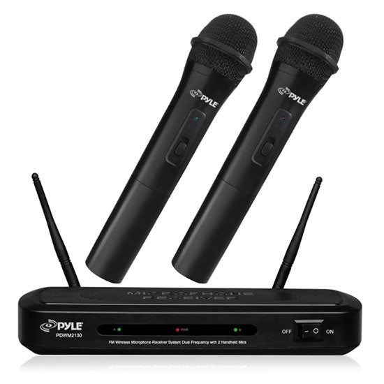 FM Wireless Microphone Receiver System, Dual Frequency with (2) Handheld Mics
