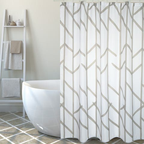 Extra Long Shower Curtain 72 x 78 Inch MSV France Polyester Fabric Tree Taupe