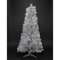"3' x 29"" Pre-Lit Slim Silver Artificial Tinsel Christmas Tree- Clear Lights"