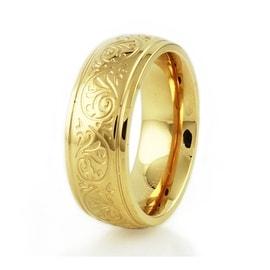Stainless Steel Ladies Floral Engrave Ring