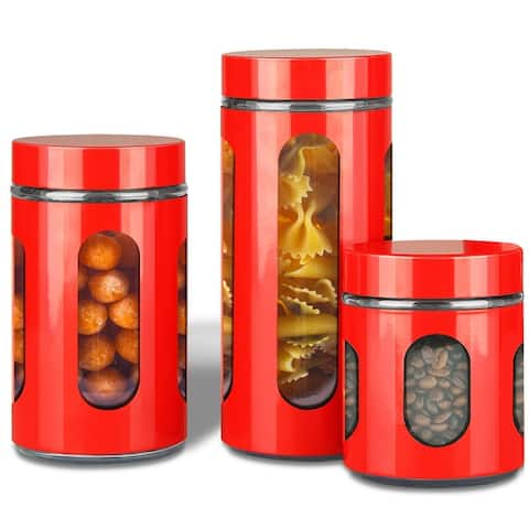 Premius Airtight 3-Piece Kitchen Glass Canister Set