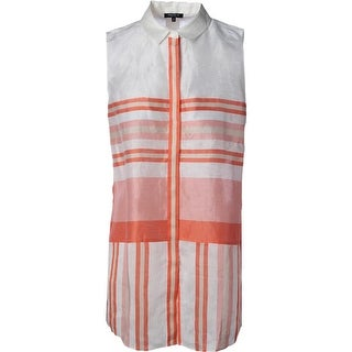 Lafayette 148 Womens Nadie Sleeveless Striped Button-Down Top - M
