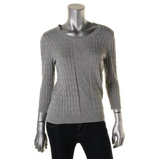Karen Scott Womens Ribbed Trim Cable Knit Pullover Sweater