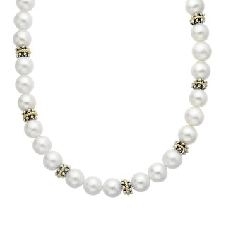 Pearl Necklace in Sterling Silver and 14K Gold