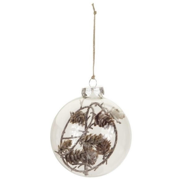 "3.5"" Rustic Lodge Style Clear Christmas Ball Ornament with Pine Cones and Twigs"