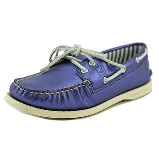 Sperry Top Sider A/O Women Moc Toe Leather Blue Boat Shoe