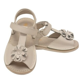 L'Amour Little Girls White Curly Flower Adorned Leather Sandals