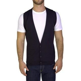 Prada Men's Cotton Sweater Cardigan Vest Black
