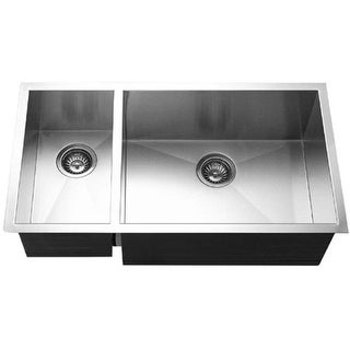 """Houzer CTO-3370SL  Contempo 33"""" Double Basin Undermount 18-Gauge Stainless Steel Kitchen Sink with 30/70 Split and Sound"""