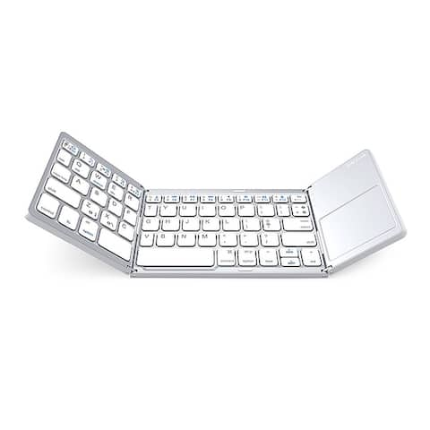 Mini Foldable Bluetooth Keyboard Foldable Wireless Keyboard Rechargeable With High-sensitivity Touchpad For Windows Android iOS