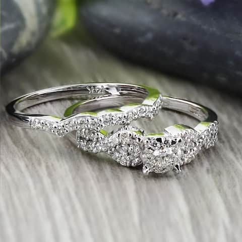 Auriya 1/2ctw Braided Round Diamond Engagement Ring Set 14k Gold