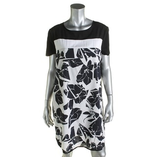 Donna Karan Womens Babydoll Dress Silk Cap Sleeves - m