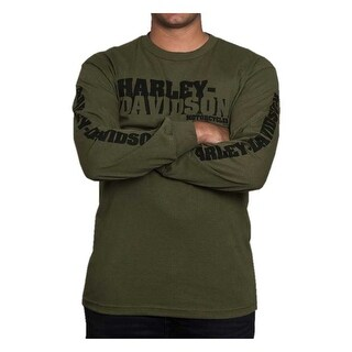 Harley-Davidson Men's Stenciled H-D Script Long Sleeve Shirt, Military Green