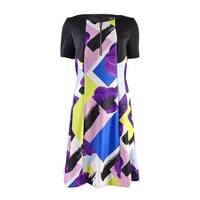 Tahari Women's Colorblocked Fit Flare Dress - lemon/blossom/black