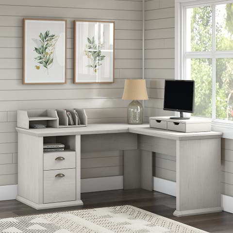 Yorktown L Shaped Desk with Storage and Organizers by Bush Furniture
