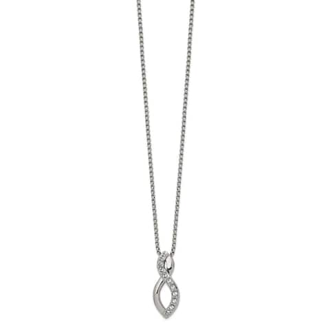 Chisel Stainless Steel Polished with Crystals 16-inch Necklace