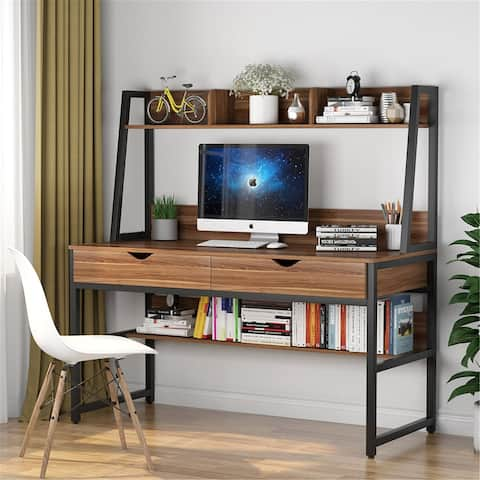 Computer Desk with Hutch shelf and 2 Drawers, Office Desk Writing Desk