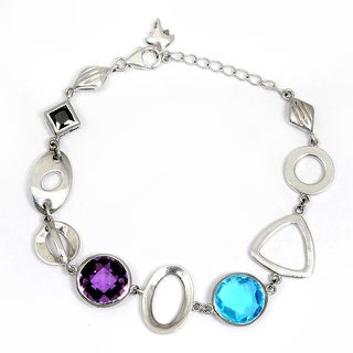 Blue Cubic Zirconia Sterling Silver Round Link Bracelet by Orchid Jewelry