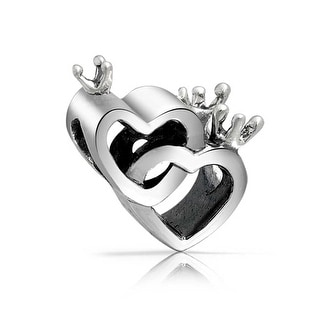 Bling Jewelry nterlocking Hearts Crown Bead .925 Sterling Silver