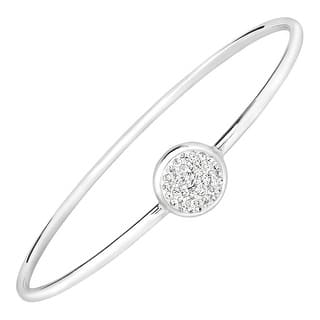 Crystaluxe Disc Bangle Bracelet with Swarovski Crystals in Sterling Silver-Plated Bronze - White|https://ak1.ostkcdn.com/images/products/is/images/direct/ed2010c20121e724816d2b17189bc84ae4c38a74/Crystaluxe-Disc-Bangle-Bracelet-with-Swarovski-Crystals-in-Sterling-Silver-Plated-Bronze.jpg?impolicy=medium