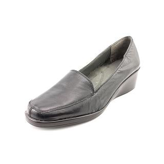 Aerosoles Final Exam Open Toe Leather Wedge Heel