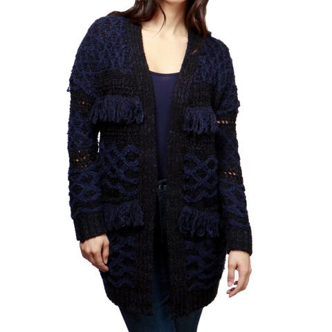Lucky Brand Black Women's Size XL Fringe Trim Knitted Cardigan
