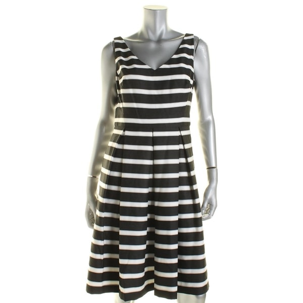 Lauren Ralph Lauren Womens Skater Dress Striped Pleated