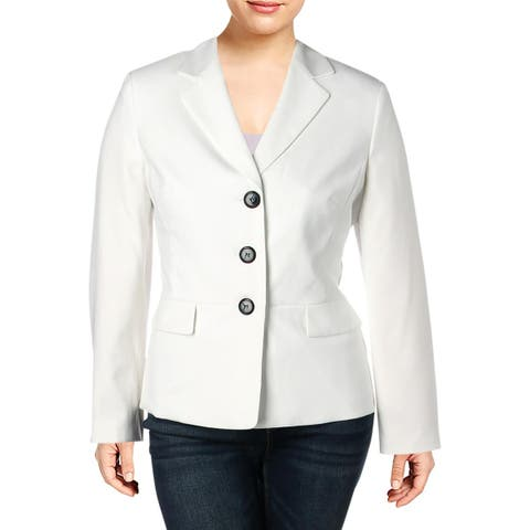 Le Suit Womens Three-Button Blazer Textured Office