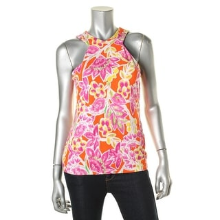 Lauren Ralph Lauren Womens Petites Tank Top Floral Print Hidden Back Zipper