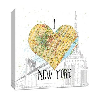 """PTM Images 9-147263  PTM Canvas Collection 12"""" x 12"""" - """"I Love NY Map"""" Giclee New York Art Print on Canvas"""