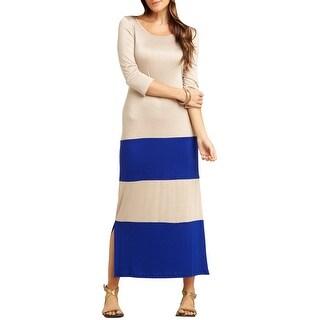 Go Couture Versatile Color Block Scoop Neck 3/4 Sleeve Long Maxi Dress
