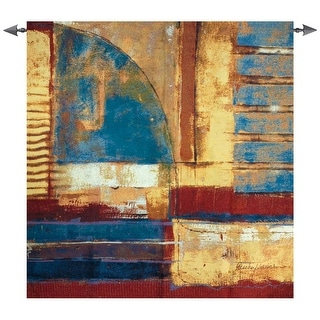 "Arena Abstract Blue, Red and Yellow Cotton Tapestry Wall Hanging - 53"" x 53"""