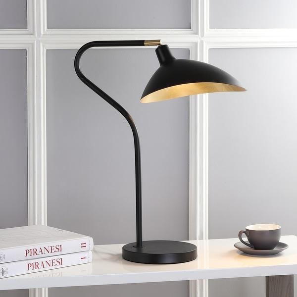 "Safavieh Lighting 30-inch Giselle Adjustable Black/ Gold Task Table Lamp - 20""x10.16""x23-30"". Opens flyout."