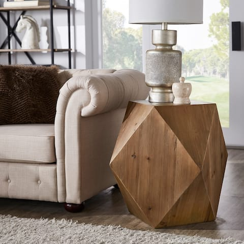 Dunn Reclaimed Wood Geometric End Table by iNSPIRE Q Modern - End Table